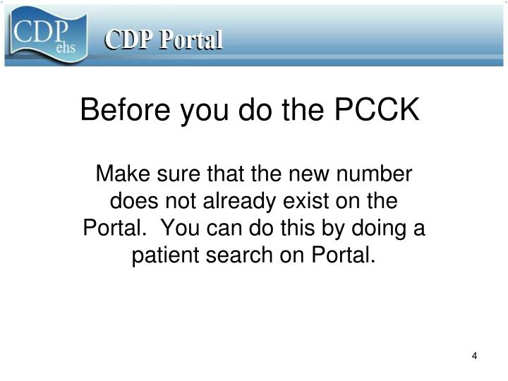 Before you do the PCCK