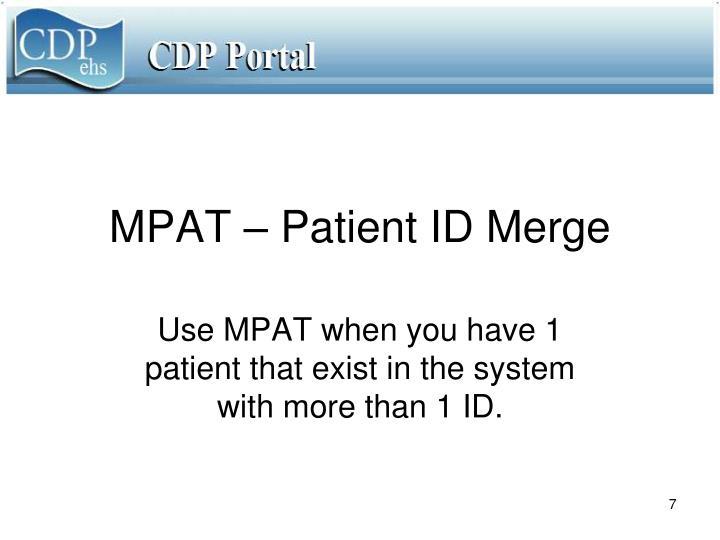 MPAT – Patient ID Merge