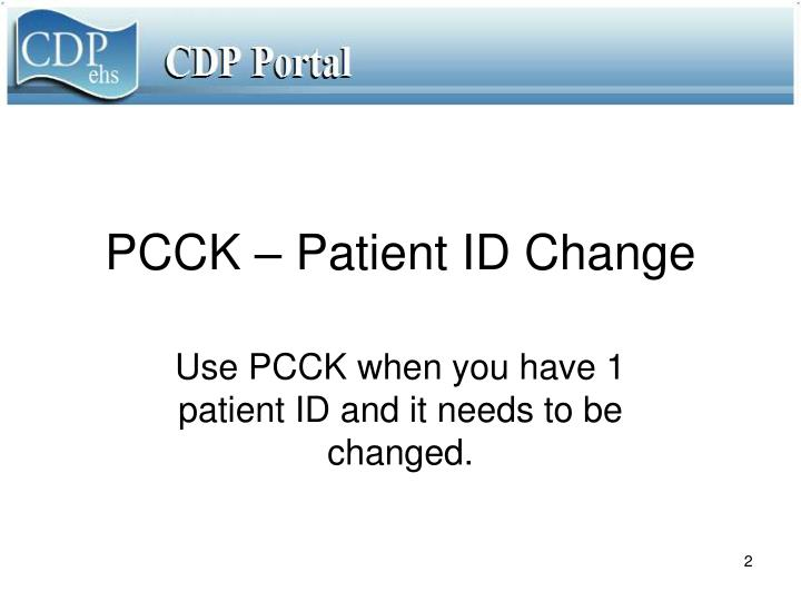 Pcck patient id change