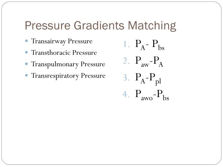 Pressure Gradients Matching