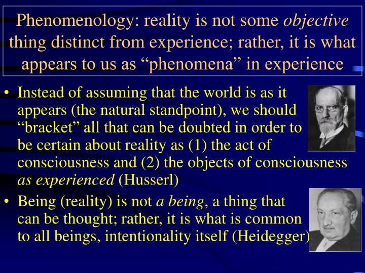 Phenomenology: reality is not some
