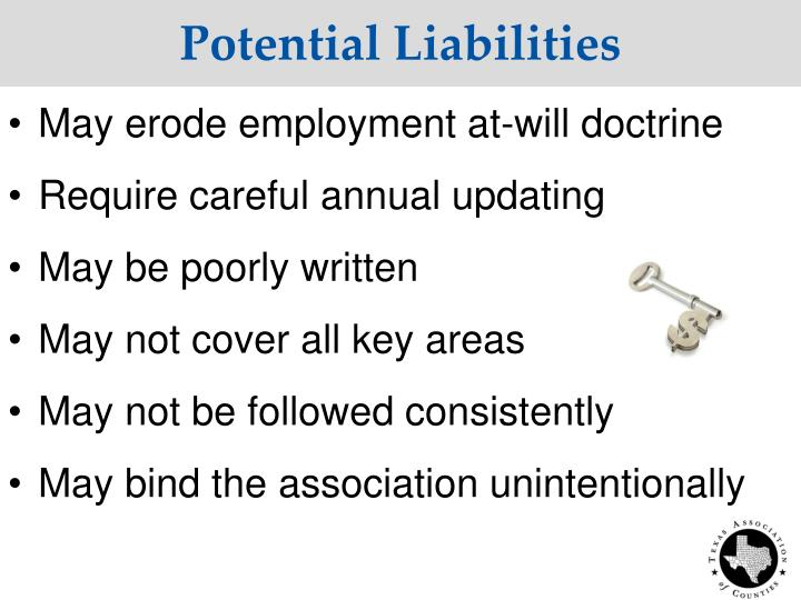Potential Liabilities