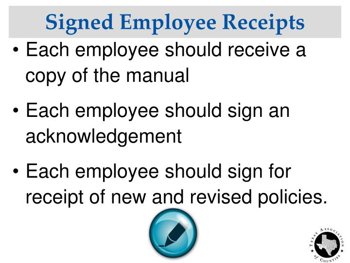 Signed Employee Receipts