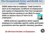 the occupational safety and health act osha