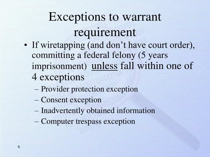 Exceptions to warrant requirement