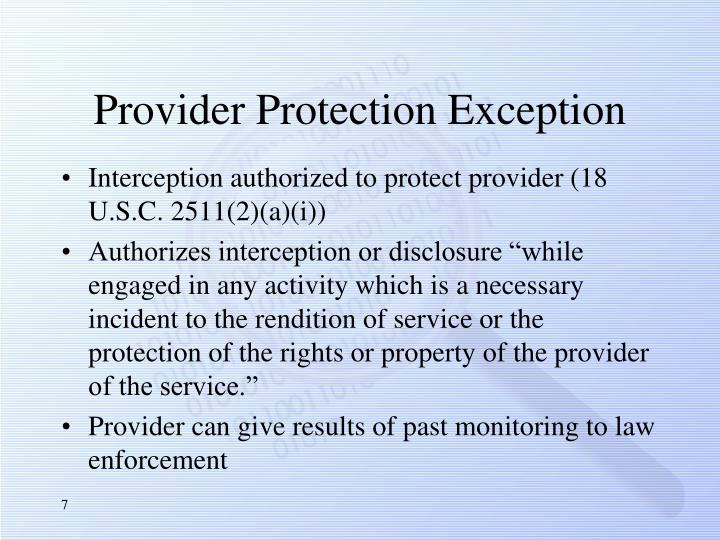 Provider Protection Exception