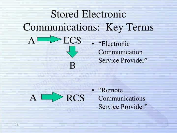 Stored Electronic Communications:  Key Terms