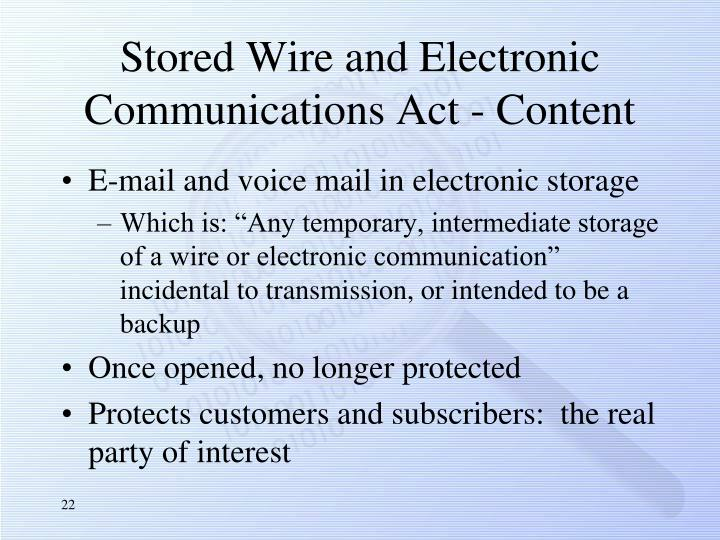 Stored Wire and Electronic Communications Act - Content