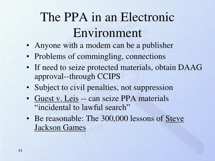 The PPA in an Electronic Environment