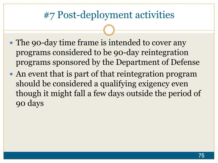 #7 Post-deployment activities