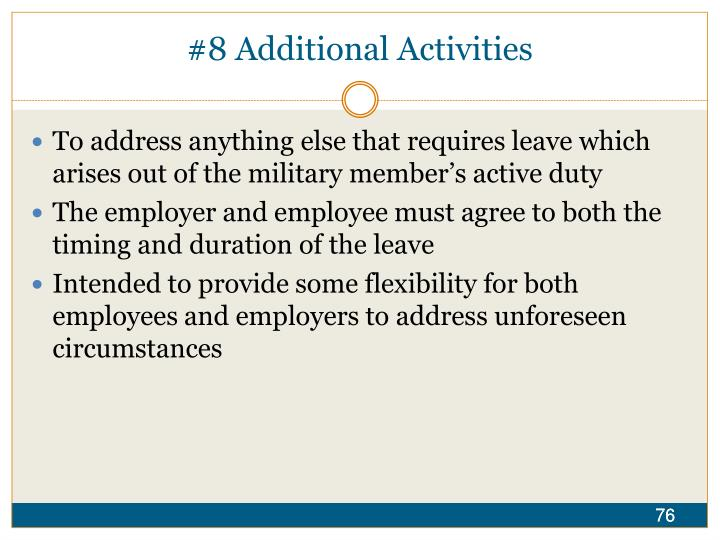 #8 Additional Activities