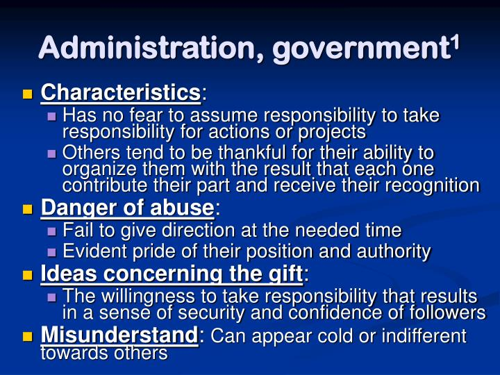Administration, government