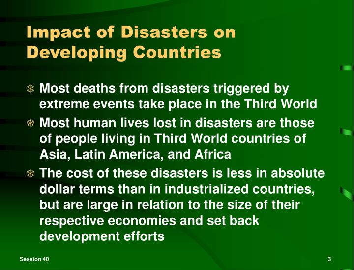 Impact of disasters on developing countries