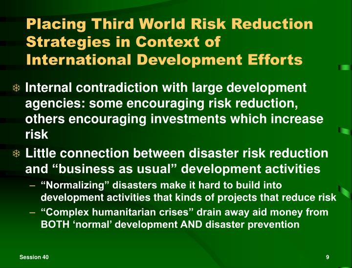 Placing Third World Risk Reduction Strategies in Context of International Development Efforts