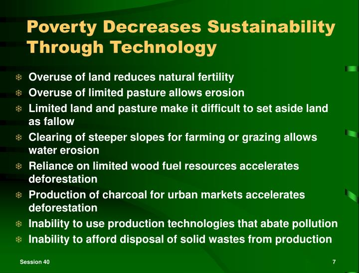 Poverty Decreases Sustainability Through Technology