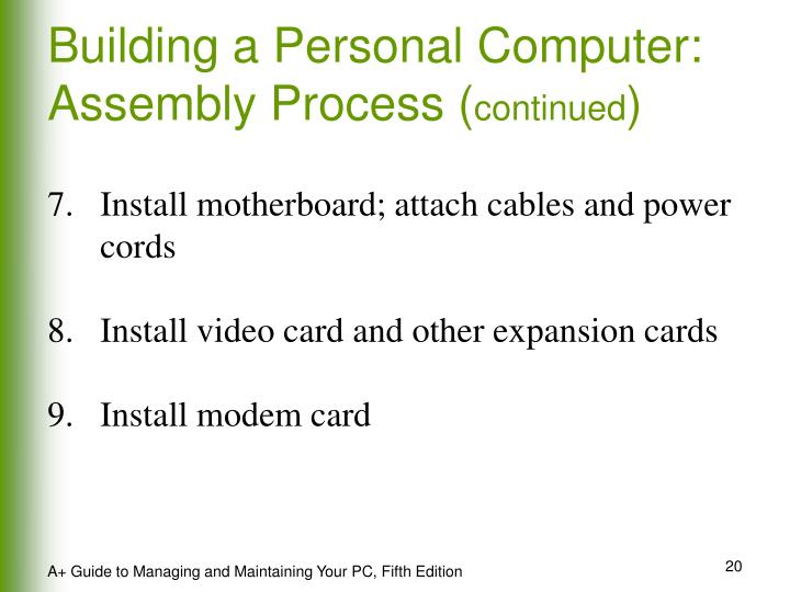 Building a Personal Computer: Assembly Process (