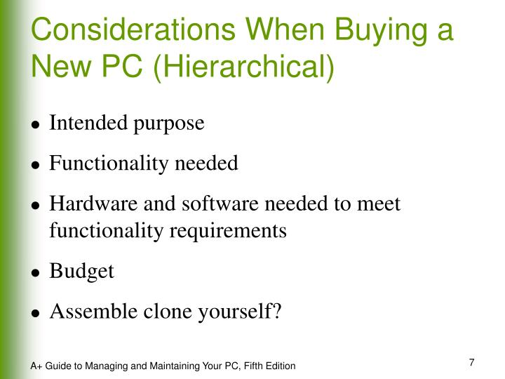 Considerations When Buying a New PC (Hierarchical)