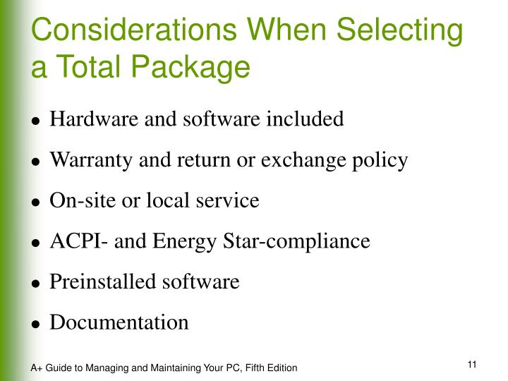 Considerations When Selecting a Total Package
