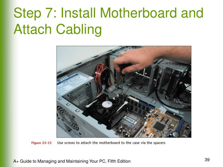 Step 7: Install Motherboard and Attach Cabling