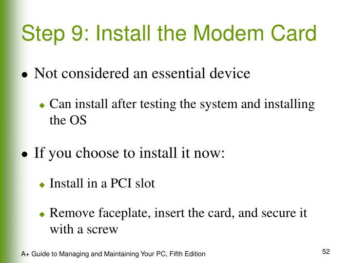 Step 9: Install the Modem Card