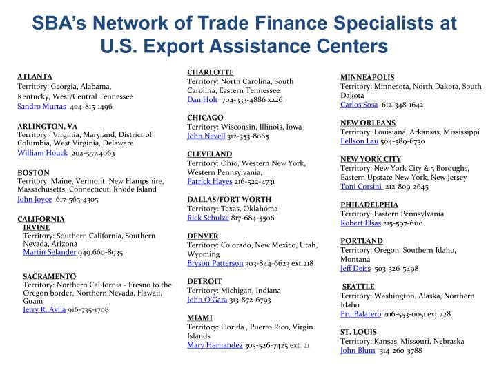 SBA's Network of Trade Finance Specialists at U.S. Export Assistance Centers