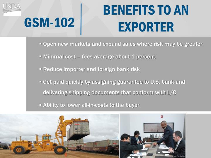 Benefits to an exporter