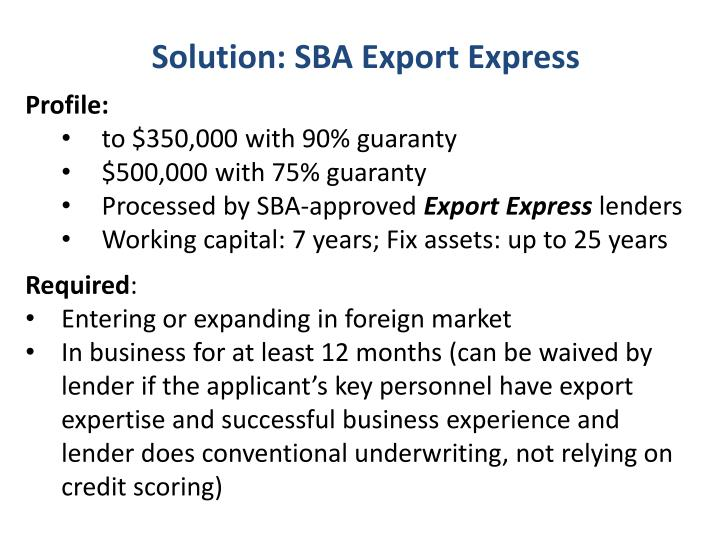 Solution: SBA Export Express