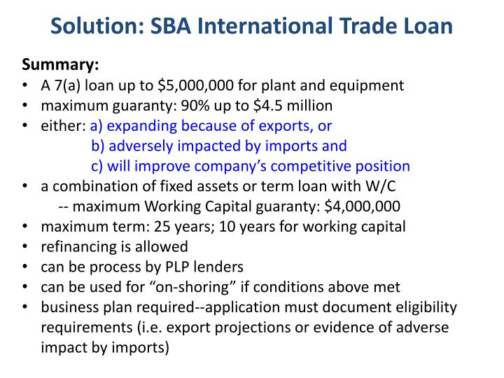 Solution: SBA International Trade Loan
