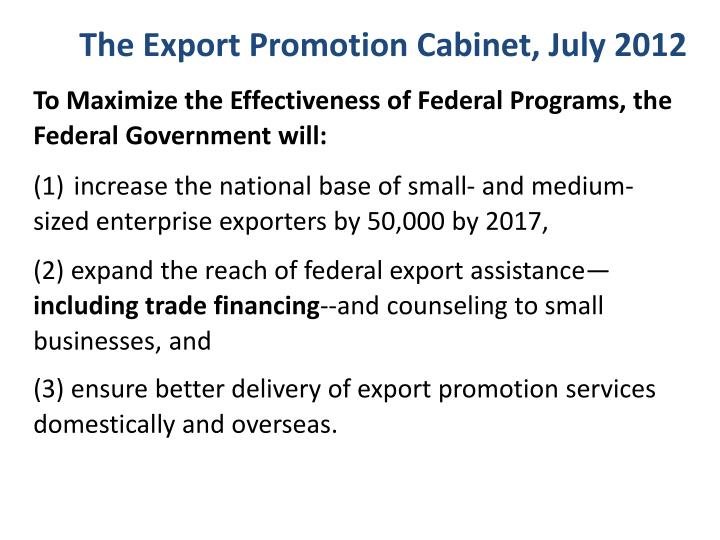The Export Promotion Cabinet, July 2012