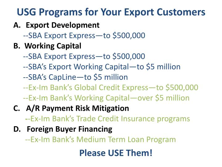 USG Programs for Your Export Customers