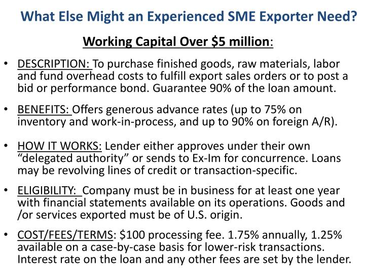 What Else Might an Experienced SME Exporter Need?