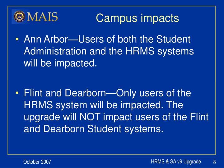 Campus impacts