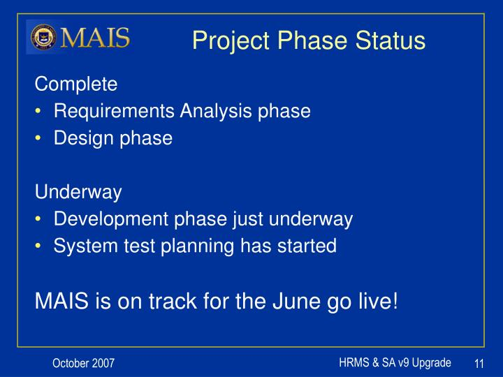 Project Phase Status
