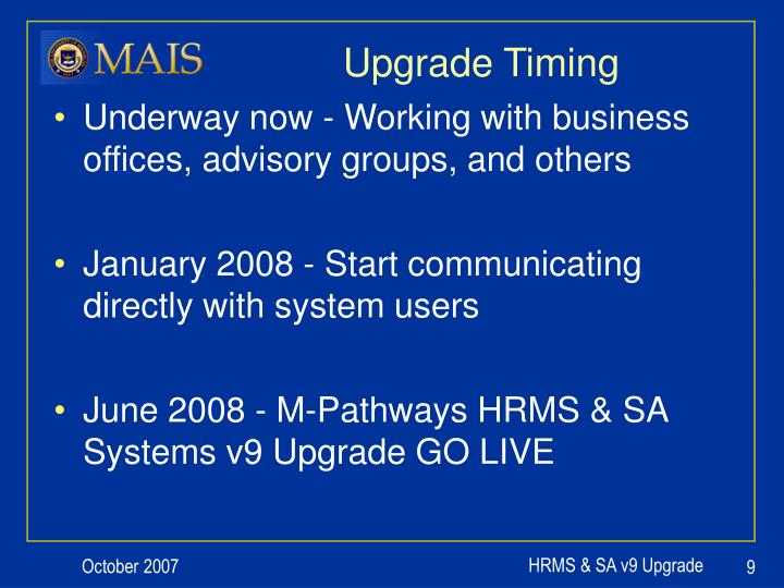 Upgrade Timing