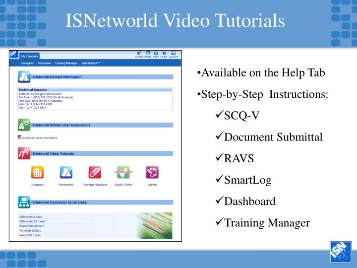 ISNetworld Video Tutorials