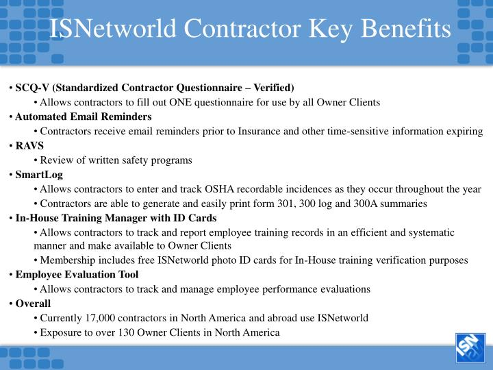 ISNetworld Contractor Key Benefits