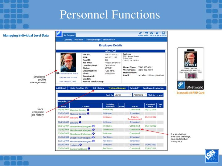 Personnel Functions