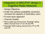 integration of mac phy design in cognitive radio networks