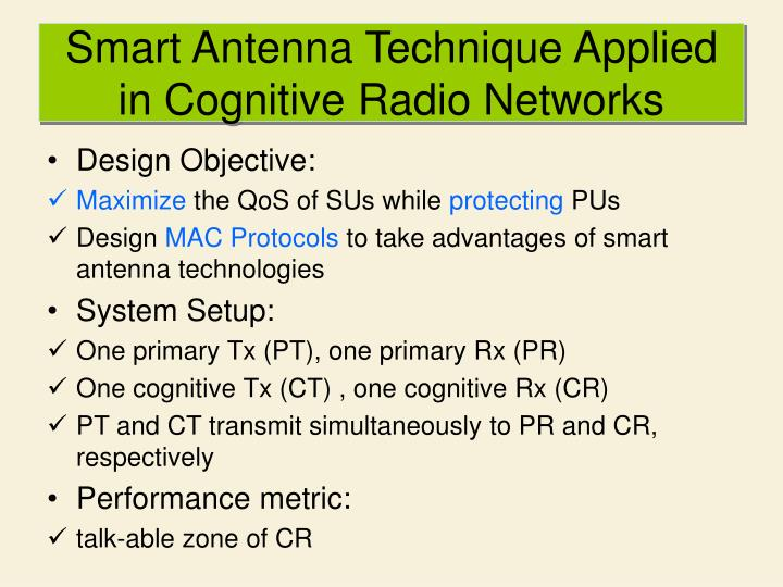 Smart Antenna Technique Applied in Cognitive Radio Networks