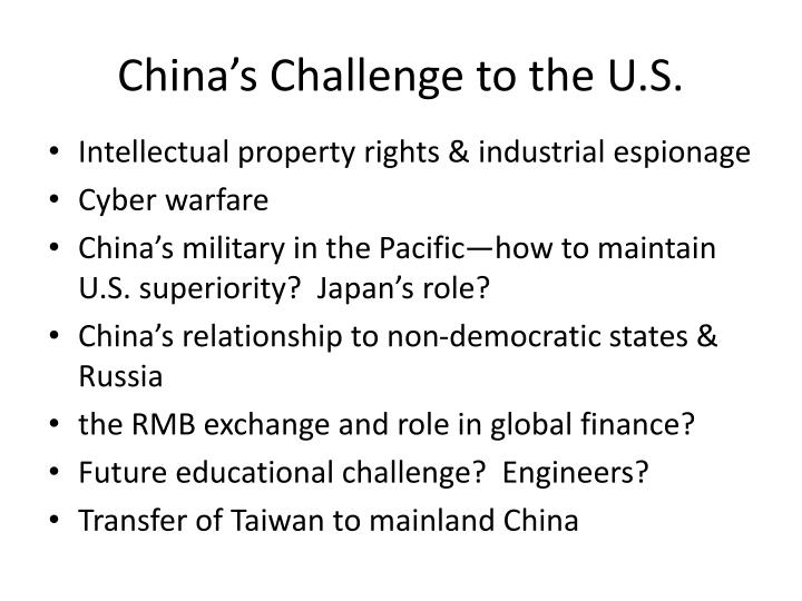 China's Challenge to the U.S.