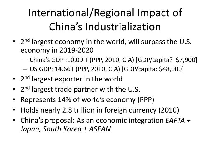 International/Regional Impact of China's Industrialization