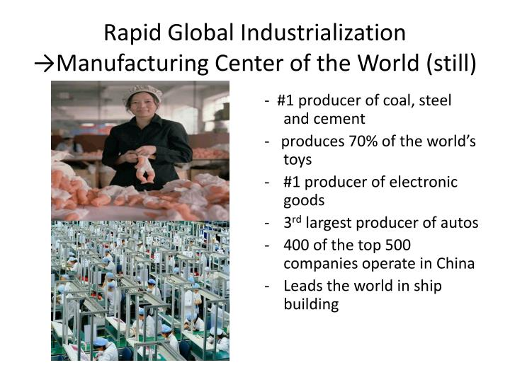 Rapid Global Industrialization →Manufacturing Center of the World (still