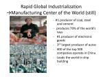 rapid global industrialization manufacturing center of the world still