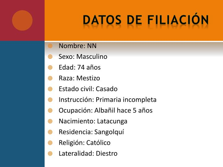 Datos de filiaci n