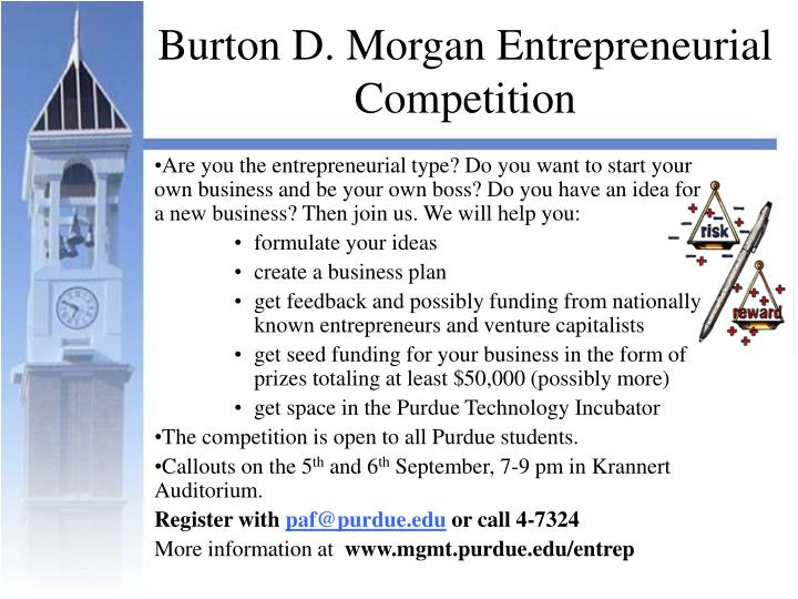 Burton d morgan entrepreneurial competition