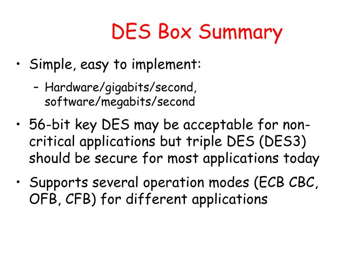 DES Box Summary