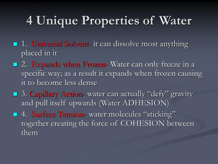 4 Unique Properties of Water