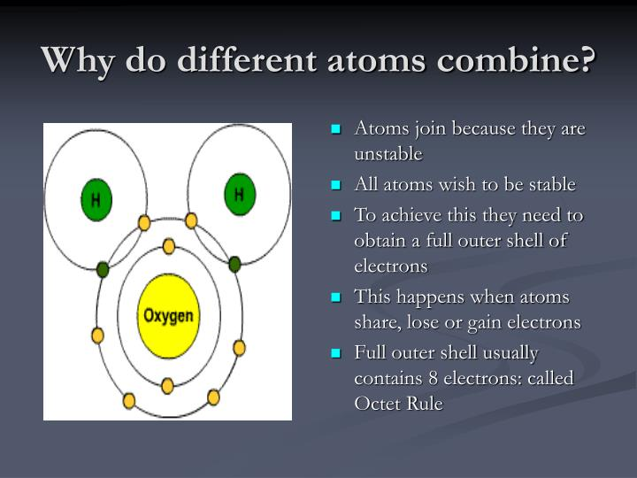 Why do different atoms combine?