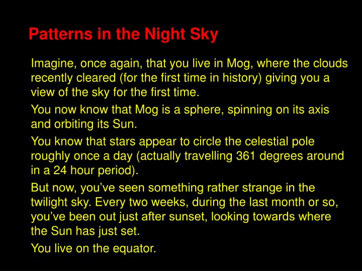 Patterns in the Night Sky
