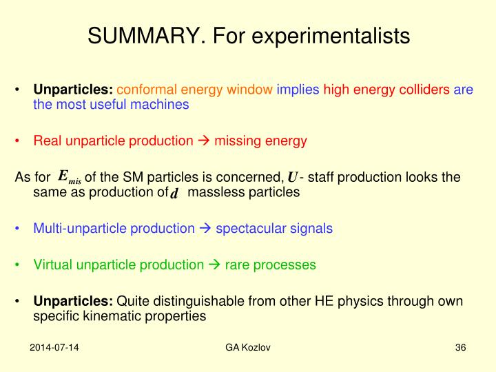 SUMMARY. For experimentalists